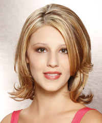 Medium Straight Formal    Hairstyle   - Dark Golden Blonde Hair Color with Light Blonde Highlights