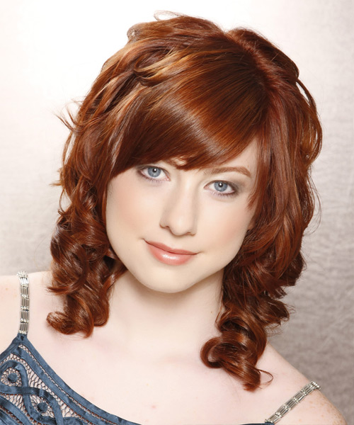 Medium Curly Formal    Hairstyle with Side Swept Bangs  - Copper Hair Color