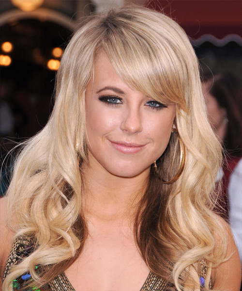 Chelsie Hightower Long Wavy Formal   Hairstyle with Side Swept Bangs  - Light Blonde