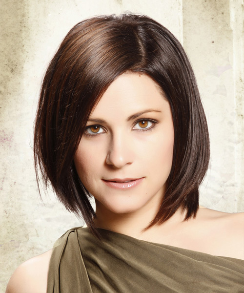 Medium Straight Layered  Dark Brunette Bob  Haircut   with Light Brunette Highlights