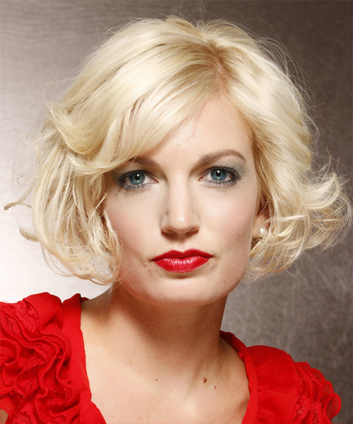 Short Wavy Layered  Light Platinum Blonde Bob  Haircut with Side Swept Bangs