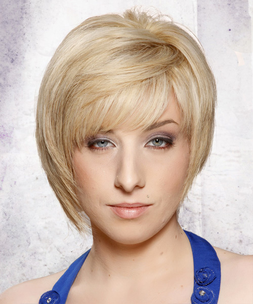 Short Straight   Light Platinum Blonde   Hairstyle with Side Swept Bangs  and  Blonde Highlights