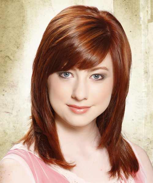 Long Straight Formal    Hairstyle with Side Swept Bangs  -  Copper Red Hair Color with Light Red Highlights