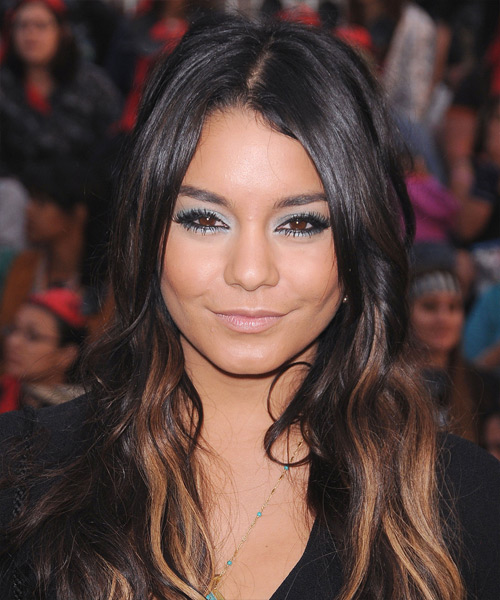 Vanessa Hudgens Long Wavy Casual    Hairstyle   - Dark Brunette Hair Color with  Brunette Highlights