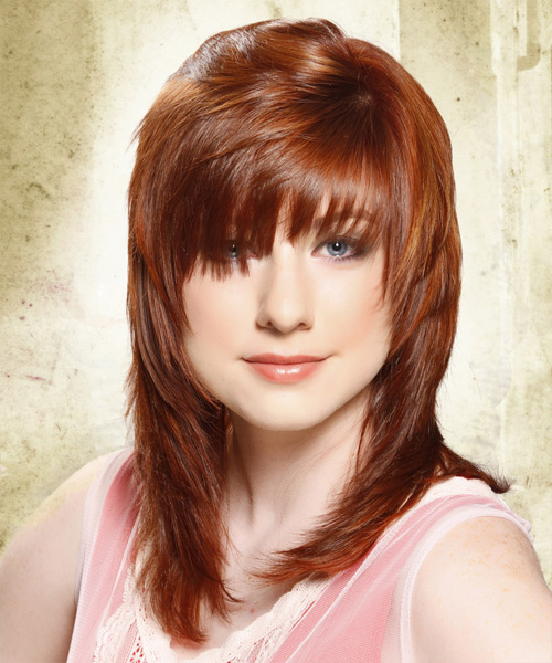Long Straight Copper Red Hairstyle with Layered Bangs