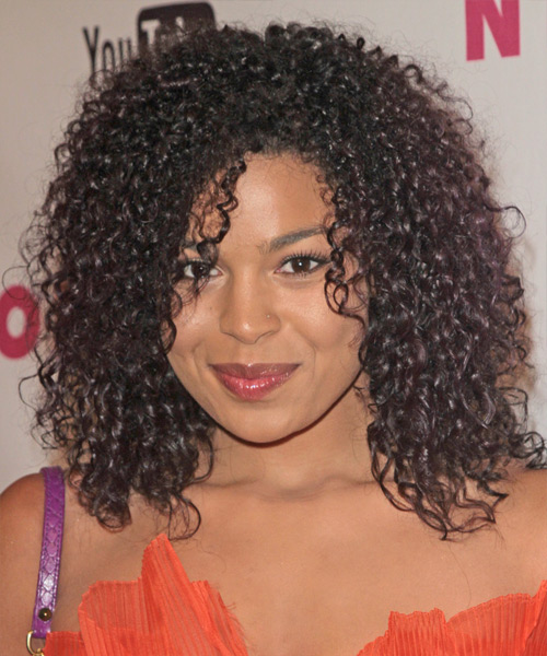 Jordin Sparks Medium Curly Casual  Afro  Hairstyle   - Dark Brunette Hair Color