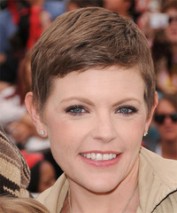 Natalie Maines Short Straight Formal  Pixie  Hairstyle with Side Swept Bangs  -  Chocolate Brunette Hair Color