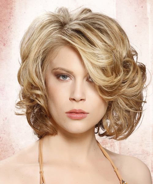 Medium Curly Formal    Hairstyle with Side Swept Bangs  - Medium Blonde Hair Color with Light Blonde Highlights