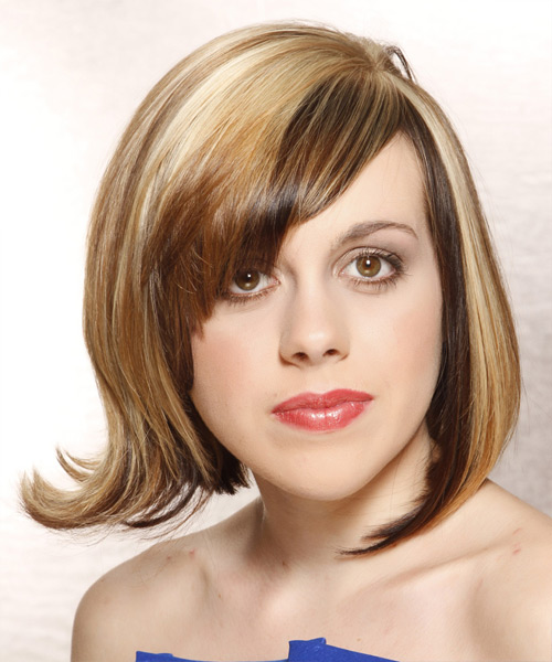 Medium Straight Alternative   Hairstyle with Side Swept Bangs  - Medium Blonde