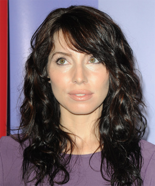 Whitney Cummings Long Wavy Casual   Hairstyle with Side Swept Bangs  - Black
