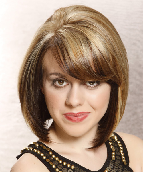 Medium Straight Formal Layered Bob  Hairstyle with Side Swept Bangs  -  Brunette and  Blonde Two-Tone Hair Color with Light Blonde Highlights
