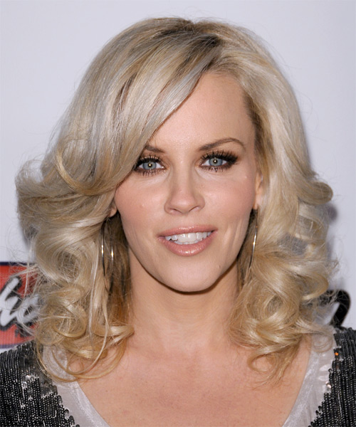 Jenny McCarthy Medium Wavy Formal   Hairstyle with Side Swept Bangs  - Light Blonde (Platinum)