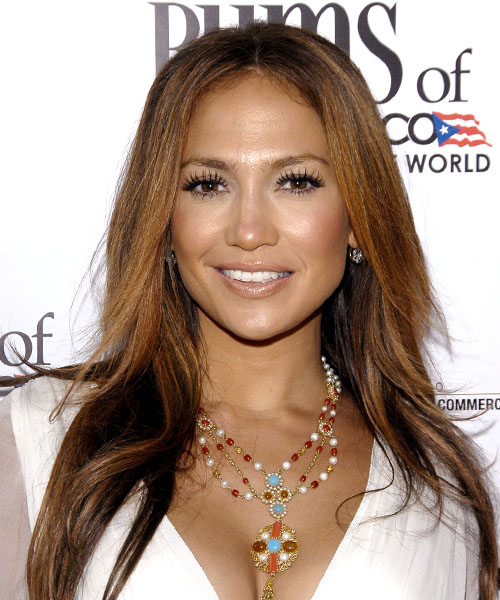 Jennifer Lopez Long Straight    Brunette and Dark Brunette Two-Tone   Hairstyle