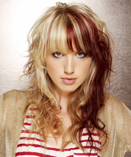Long Wavy   Light Blonde and Dark Red Two-Tone   Hairstyle with Layered Bangs
