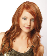 Long Wavy Casual    Hairstyle with Side Swept Bangs  -  Red Hair Color with Dark Red Highlights