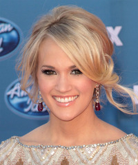 Carrie Underwood  Long Curly   Light Champagne Blonde  Updo  with Side Swept Bangs  and Light Blonde Highlights