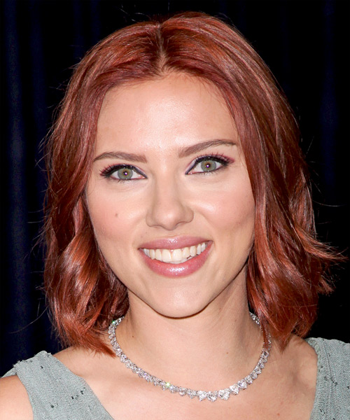 Scarlett Johansson Medium Wavy Casual Bob  Hairstyle   - Medium Red