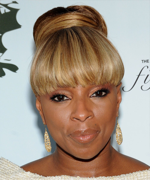 Mary J. Blige Updo Long Straight Formal  Updo Hairstyle with Blunt Cut Bangs  - Medium Brunette (Golden)