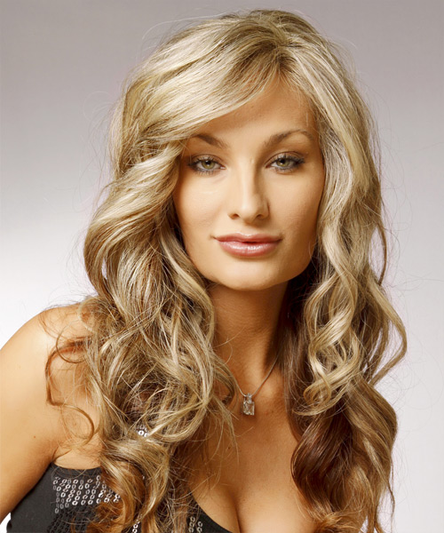 Long Wavy Formal    Hairstyle with Side Swept Bangs  - Light Champagne Blonde and  Brunette Two-Tone Hair Color