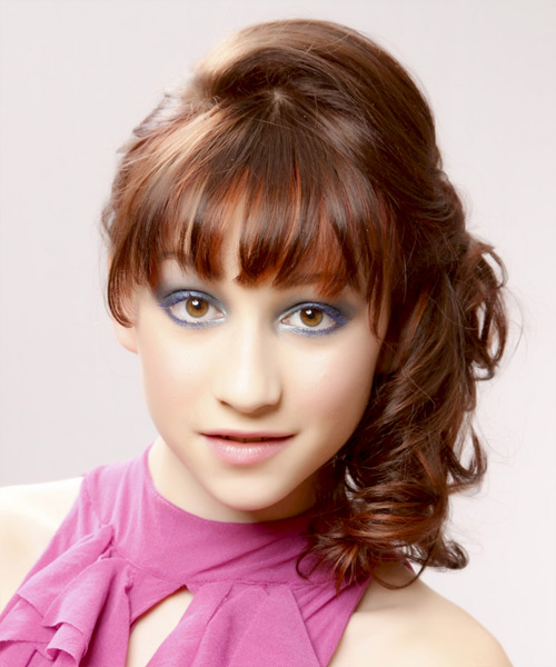 Updo Long Curly Formal  Updo Hairstyle with Blunt Cut Bangs  (Chestnut)