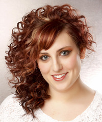 Medium Curly Formal    Hairstyle with Side Swept Bangs  -  Red Hair Color with Light Blonde Highlights