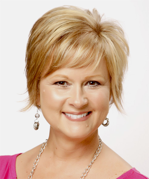 Short Straight Formal   Hairstyle with Side Swept Bangs  - Medium Blonde (Golden)