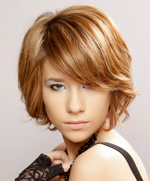 Short Straight   Light Copper Brunette   Hairstyle with Side Swept Bangs  and Light Blonde Highlights