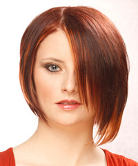 Short Straight Alternative  Asymmetrical  Hairstyle   - Dark Mahogany Red Hair Color with Orange Highlights