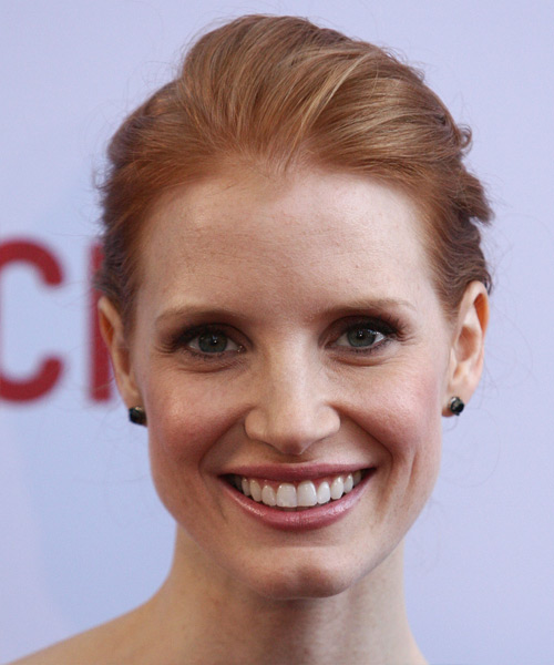 Jessica Chastain Long Straight Strawberry Blonde Updo With