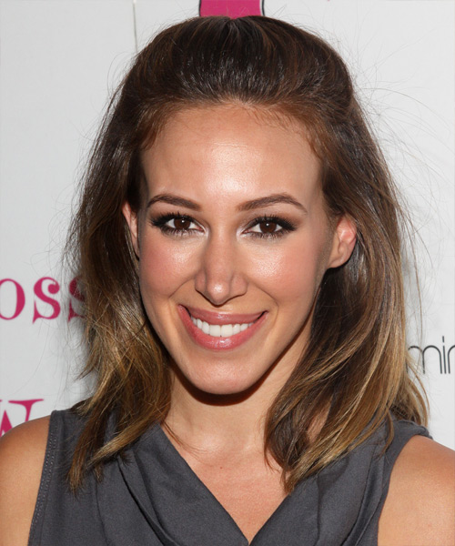 Haylie Duff Half Up Long Straight Casual  Half Up Hairstyle   - Medium Brunette