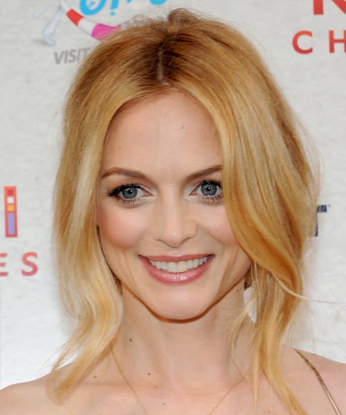 Heather Graham  Long Curly Formal   Updo Hairstyle   -  Copper Blonde Hair Color with Light Blonde Highlights