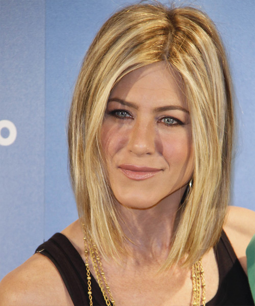 Jennifer Aniston Medium Straight    Golden Blonde   Hairstyle   with Light Blonde Highlights