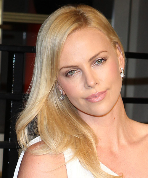 Charlize Theron Long Straight    Golden Blonde   Hairstyle   with Light Blonde Highlights