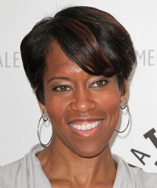 Regina King Short Straight Casual    Hairstyle with Side Swept Bangs  - Black  Hair Color with  Brunette Highlights