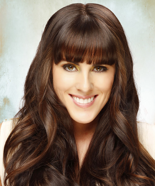 Long Wavy   Dark Chocolate Brunette   Hairstyle with Blunt Cut Bangs