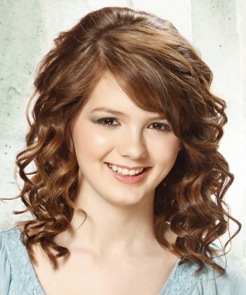 Hair Salon Hairstyles: Medium Curly Chestnut Brunette Hairstyle With Side Swept Bangs