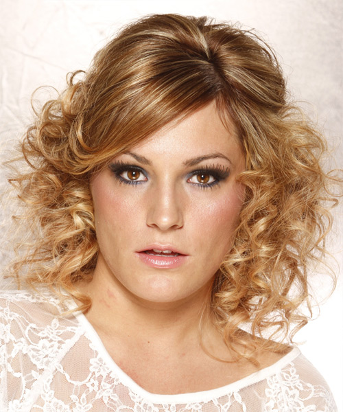 Long Curly   Dark Honey Blonde  Half Up Hairstyle with Side Swept Bangs  and  Blonde Highlights