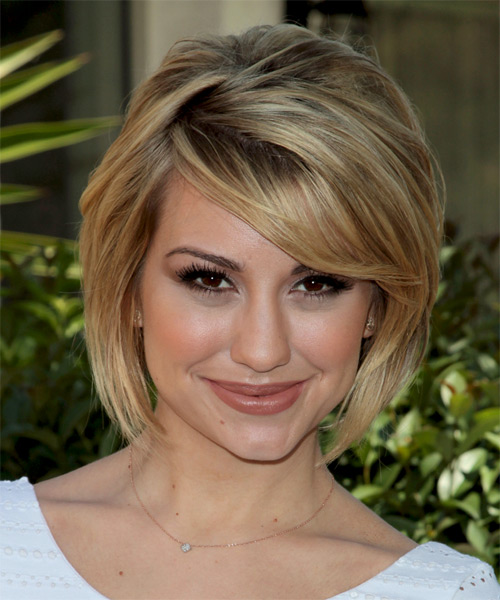 Chelsea Kane Medium Straight Formal Layered Bob  Hairstyle with Side Swept Bangs  - Dark Blonde Hair Color with Light Blonde Highlights
