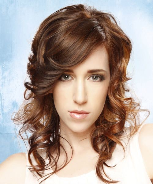 Long Curly   Light Chestnut Brunette   Hairstyle with Side Swept Bangs