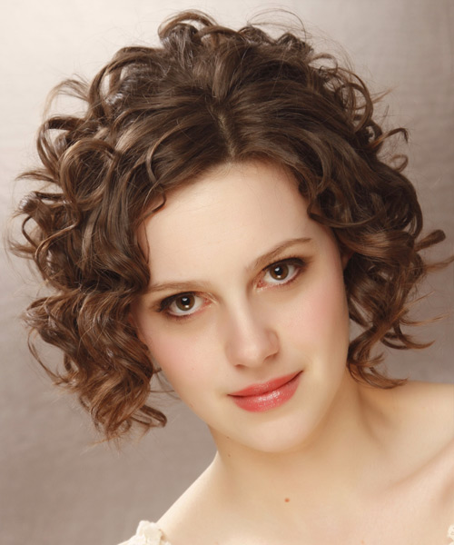 Short Curly Formal   Hairstyle   - Medium Brunette