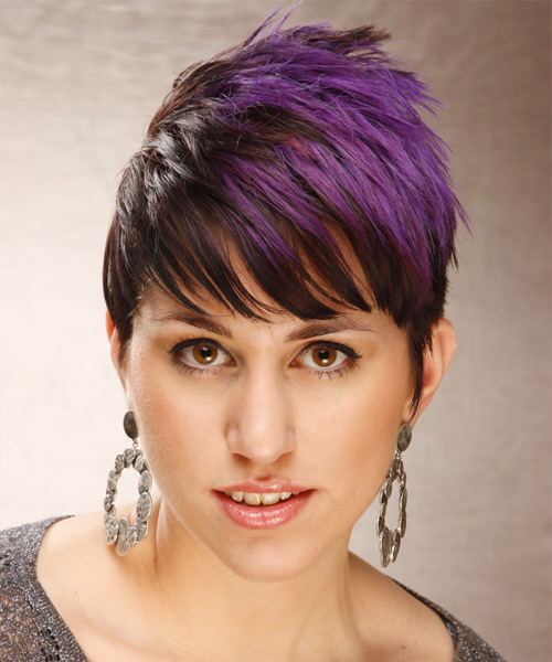 Short Straight Alternative  Emo  Hairstyle with Side Swept Bangs  - Dark Brunette and Purple Two-Tone Hair Color