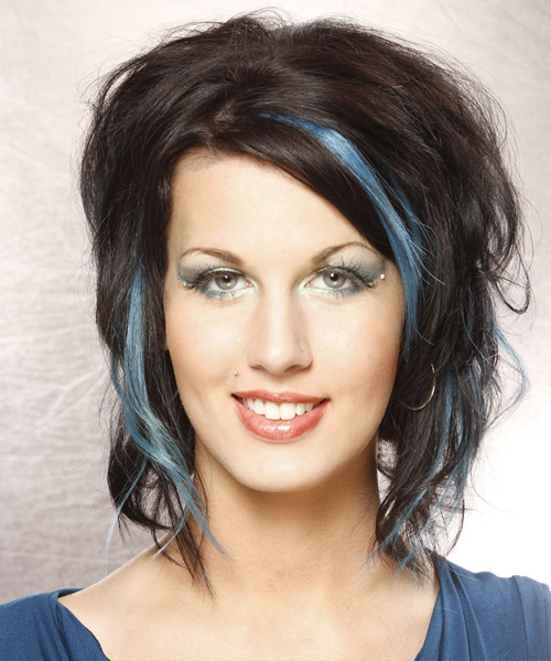 Medium Wavy Casual   Hairstyle   - Blue