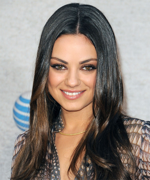 Mila Kunis Long Straight Formal    Hairstyle   - Black  Hair Color with Medium Brunette Highlights