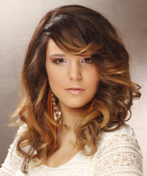 Long Wavy Formal    Hairstyle with Side Swept Bangs  -  Brunette and Dark Blonde Two-Tone Hair Color