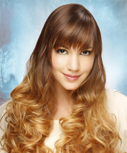 Long Curly Formal    Hairstyle with Layered Bangs  - Light Brunette and  Blonde Two-Tone Hair Color