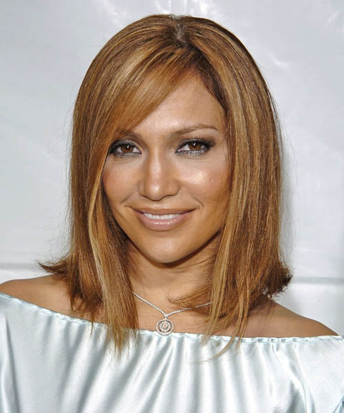 Jennifer Lopez Medium Straight Formal   Hairstyle