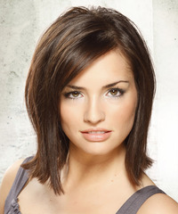Medium Straight Layered  Dark Brunette Bob  Haircut with Side Swept Bangs