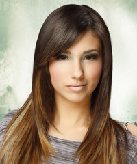 Long Straight   Dark Golden Brunette and Light Brunette Two-Tone   Hairstyle with Side Swept Bangs