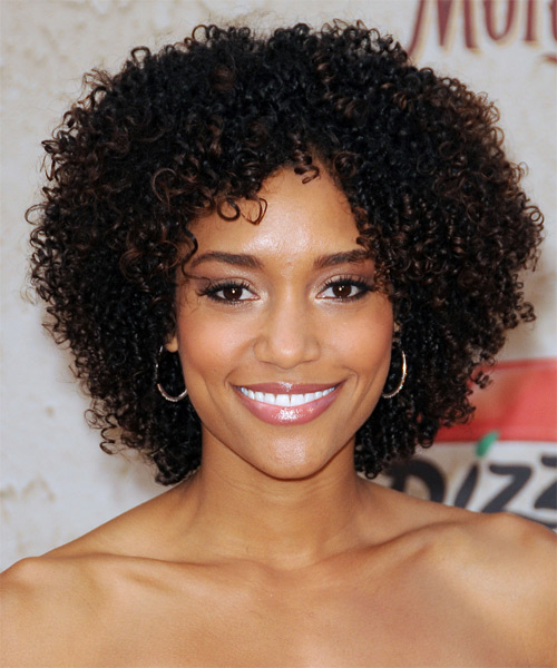 Annie Ilonzeh Short Curly Casual   Hairstyle   - Dark Brunette