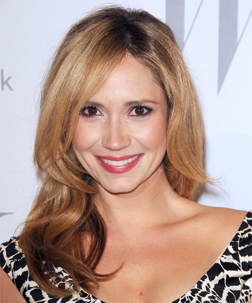 Ashley Jones Long Wavy Casual    Hairstyle   - Medium Golden Blonde and Medium Brunette Two-Tone Hair Color